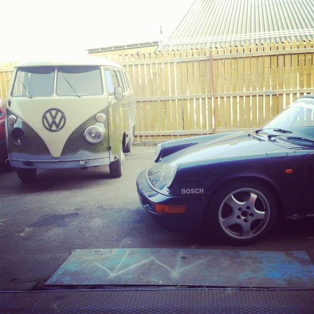 At the garage...