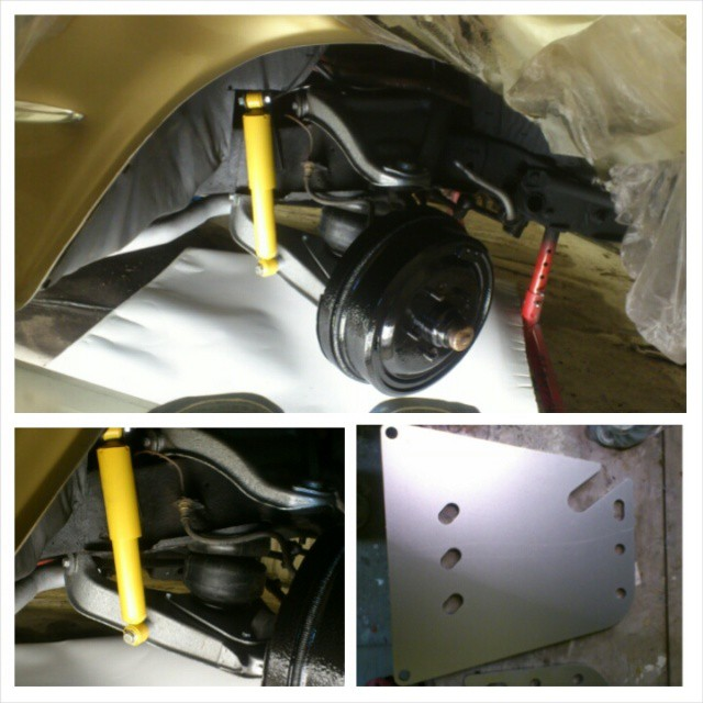 Airride install, bags in place and relocated upper shockmounts with new shocks...