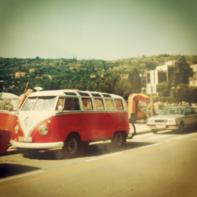 My bus on the Riviera near Monaco in the early 80's. 7000km long roadtrip thru Europe. How cool!