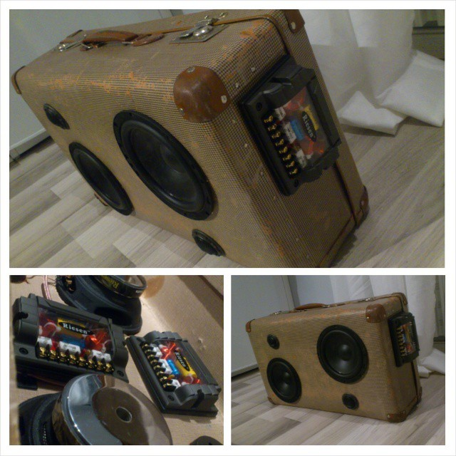 Portable stereo in a vintage suitcase. Built my first in 2007. Going to build a new so this one might be up for sale...