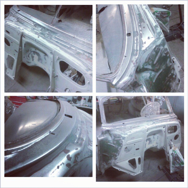 Raw metal. Bodywork started! 1951 Chevrolet Fleetline Deluxe lowrider project.