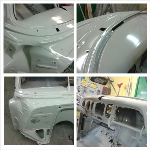 In epoxyprimer. Bodywork started! 1951 Chevrolet Fleetline Deluxe lowrider project.